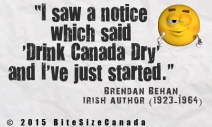 I saw a notice which said 'drink canada dry' and I've just started.